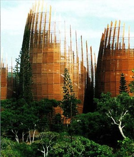 Jean-Marie Tjibaou Cultural Centre by Renzo Piano, in Noumea, New Caledonia. 1998.