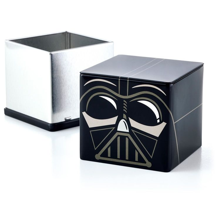 "Darth Vader™ CUBEEZ Container will protect your candy, money, paper clips, rubber bands, lost pieces, hair accessories, etc.  3"" x 3"" x 3"" metal cube.  $7.95"