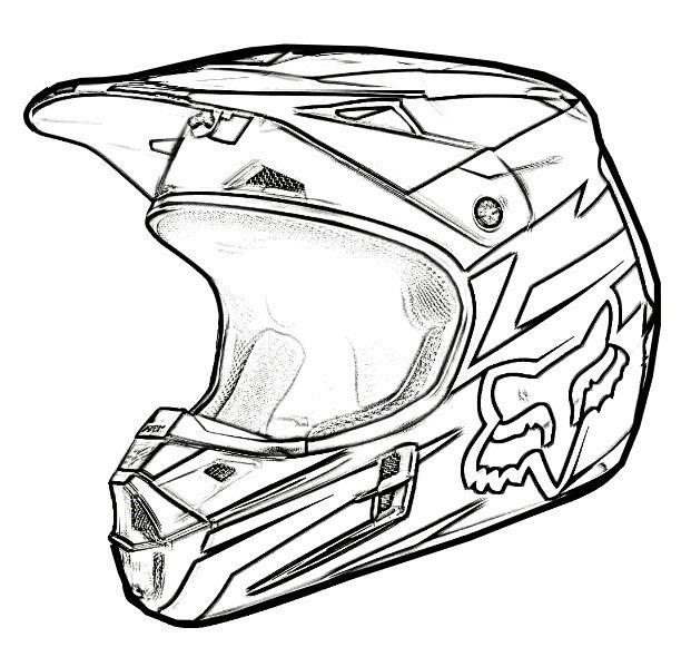 Coloring Page Dirt Bike Helmet Tatuagem Motocross Tatuagem De