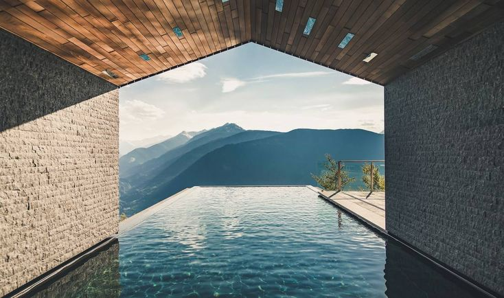 Infinity pool at 1230 metres above sea level at the MiraMonti boutique hotel in the Dolomites.