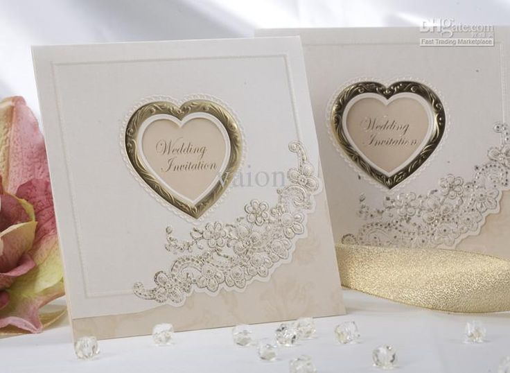 NEW Sweet LOVE Ivory Wedding Invitations Wedding Cards Personalized Invitations  Fast Shipping