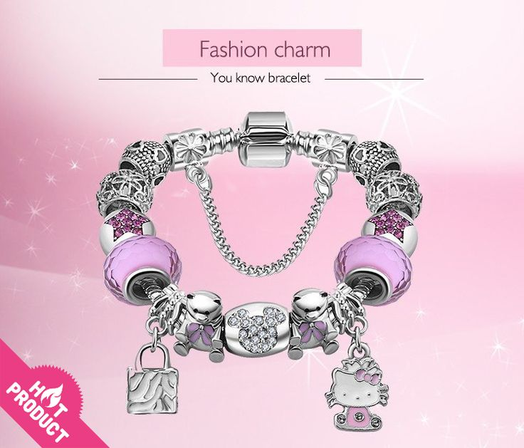 Pandora Style Hello Kitty Charms Bracelet for Kids And Girls