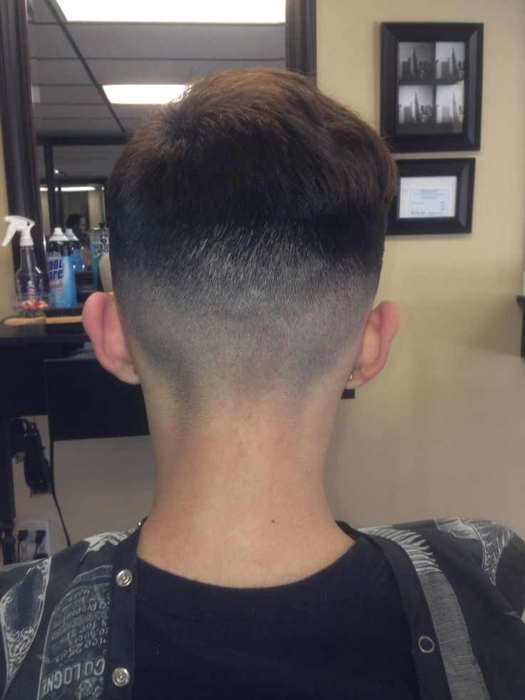 Bald fade, long on top, back view