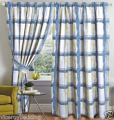 CHECK STRIPED PENCIL PLEAT FULLY LINED PAIR READY MADE CURTAINS GREY BROWN BLUE