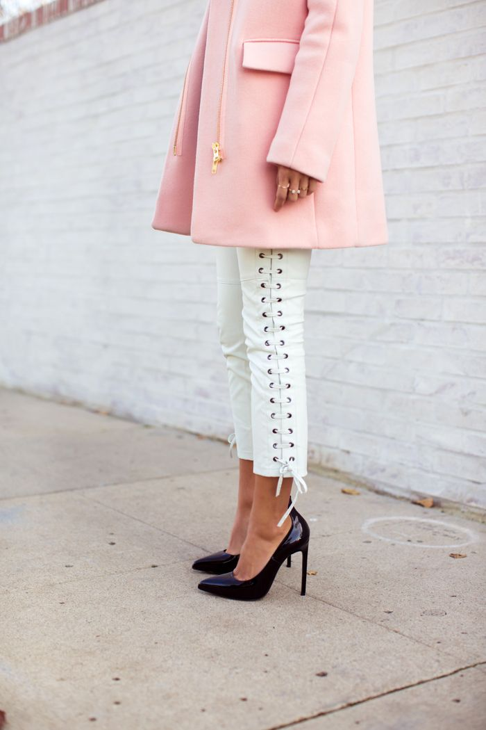 pink + white leather