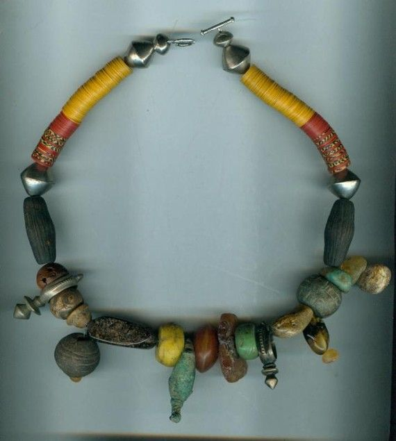 BeadArtAustria - African style necklace with amber (Bernstein) and roman bronze ring