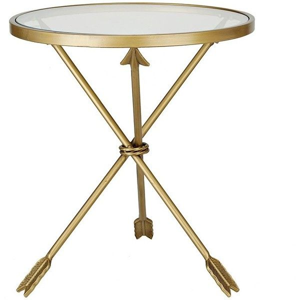 Gold Round Arrow Table ($80) ❤ liked on Polyvore featuring home, furniture, tables, accent tables, metallic table, round occasional tables, gold table, top table and arrow furniture