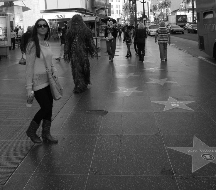 Hollywood blvd December 2013. Kerry about to be jumped by Chewy
