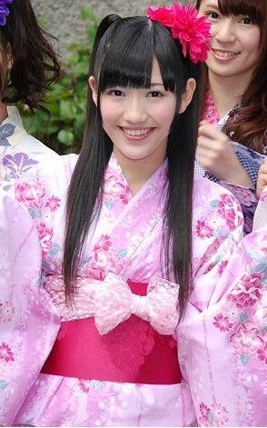 AKB48 member Mayu Watanabe in pink kimono.