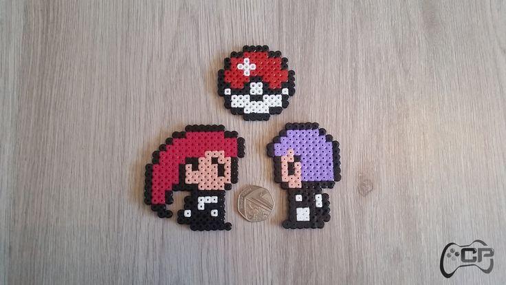 Hand Made Pokemon Jessie & James 8-Bit Set Fridge Magnets   UK Seller by ChillPadUK on Etsy