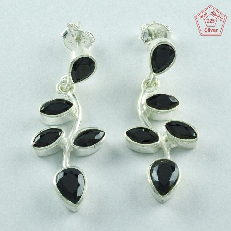HEAVENLY DESIGN BLACK ONYX STONE 925 STERLING SILVER STUDS EARRINGS E3228…