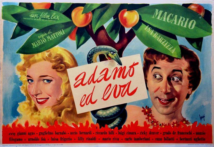 """Mario Mattoli's comedy """"Adamo ed Eva"""" (English title: """"Adam and Eve"""", 1949), starring Macario (Erminio Macario) and Isa Barzizza."""