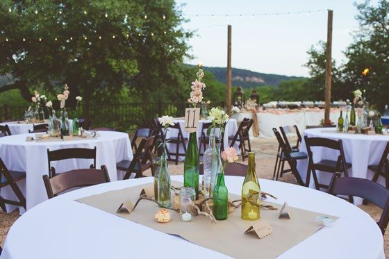 Glass bottles add the perfect rustic touch! Hideout on the Horseshoe Hill Country Wedding Venue.
