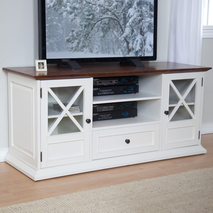 Belham Living Hampton 55 Inch TV Stand   White/Oak   TV Stands At Hayneedle
