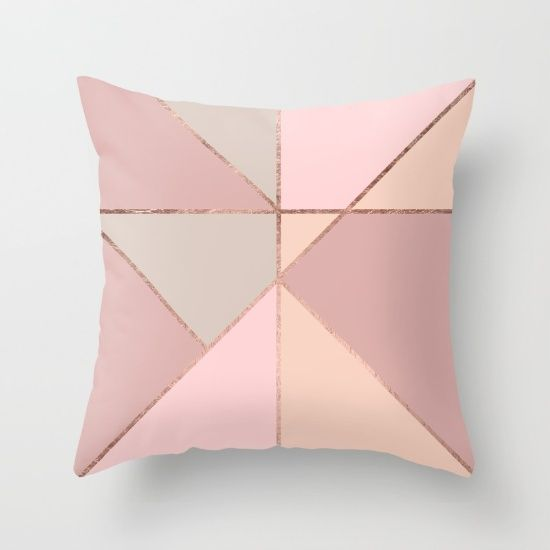 Modern Rose Gold Peach Blush PInk Colour Block Throw Pillow - Girly Trend