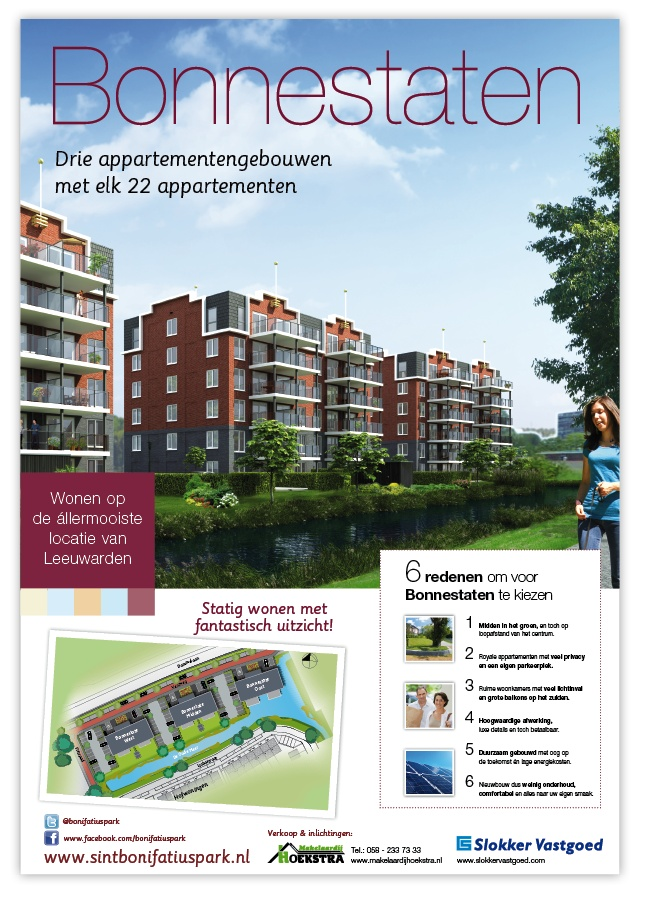 Poster Bonnestaten, Sint Bonifatiuspark in Leeuwarden.