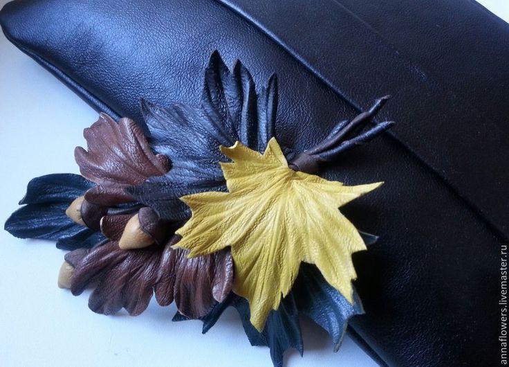 Купить Осенний букет из кожи.Брошь. - коричневый, брошь из кожи, аксессуары из кожи, осенние листья