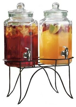 Set of Two Iced Tea Drink Dispensers on Stand traditional cups and glassware