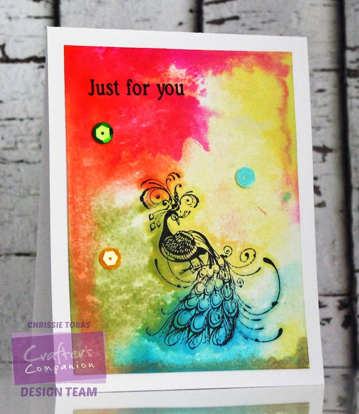 Stamp-it Australia: 4740F Peacock, 3319C Just for You - Card by Chrissie Tobas of Harvest Moon Papiere for Crafter's Companion