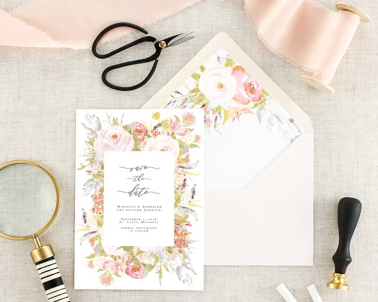 Floral Save the Date Cards - Save the Dates Printed - Modern Save the Dates - Floral Wedding Announcement - Pink Save the Dates - Set of 10 by MargauxPaperie on Etsy