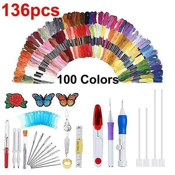 Embroidery Pen Punch Needle Set Craft Tool Colorful Threads DIY Tool Craft New