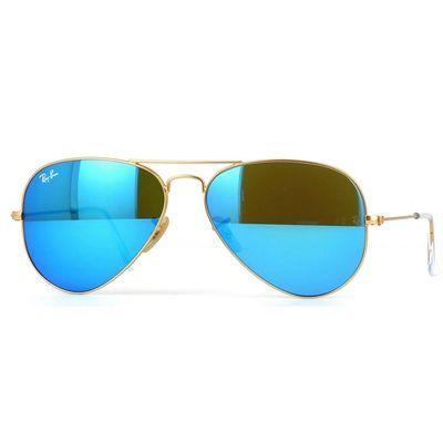 e7c40733d Óculos de Sol Aviador Ray Ban Metal Dourado Com Lentes Azuis Espelhadas -  RB3025L11217