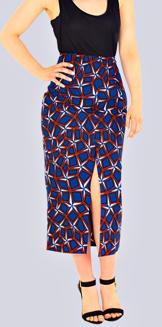 A very flattering long skirt with modest knee length split. This skirt was handmade with 100% cotton. The batik fabric makes this skirt complete. Batik Skirt, Split Skirt, Long Skirt, African Print Skirt, Front Split Skirt, Formal Skirt.  Ankara | Dutch wax | Kente | Kitenge | Dashiki | African print dress | African fashion | African women dresses | African prints | Nigerian style | Ghanaian fashion | Senegal fashion | Kenya fashion | Nigerian fashion | Ankara crop top (affiliate)