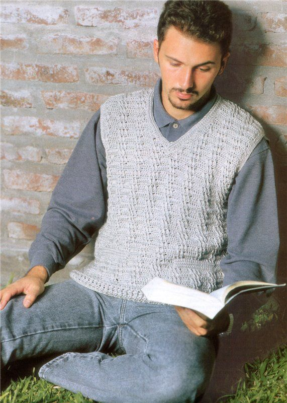 A crochet vest for him! I love it ♥LCH- MRS♥ with diagram.