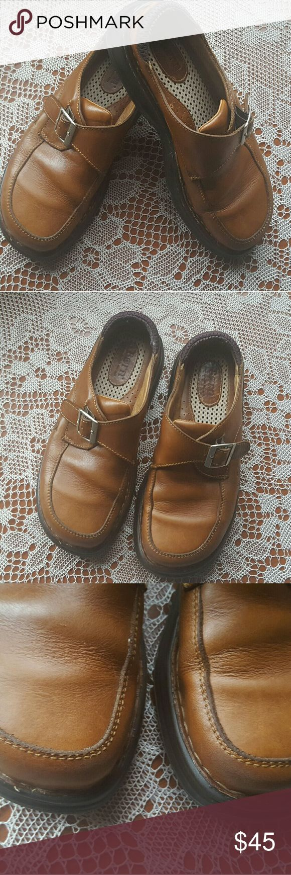 Born women's leather mules Born women's brown leather mules in good condition fuse scuffs on toe little wear on soles please see pictures above. Born Shoes Mules & Clogs