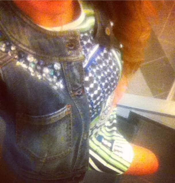 Denim Jacket with gems and digital print dress