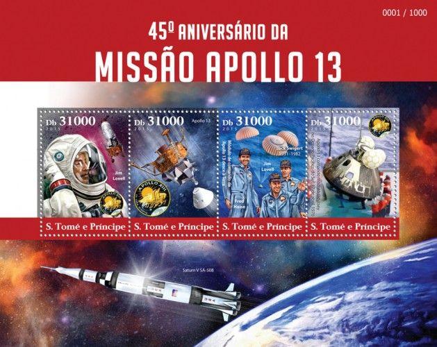 """ST15316a 45th anniversary of Apollo 13 mission (Jim Lovell, Apollo 13, Apollo 13 Command module descends on Earth, Fred Haise, Jim Lovell, Jack Swigert (1931–1982), Apollo 13 Command module """"Odyssey"""" in Pacific Ocean, April 17, 1970)"""
