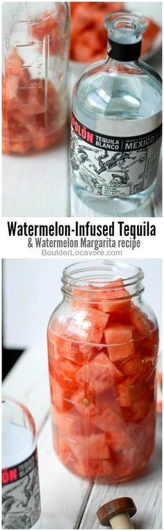Watermelon-Infused Tequila and Watermelon Margarita recipe!  BoulderLocavore.com