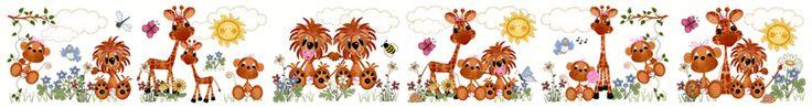 Jungle Zoo Animals Wall Border Decals Baby Girl Nursery Kids Room Decor - Monkeys, Lions, & Giraffes. #decampstudios www.decampstudios.com