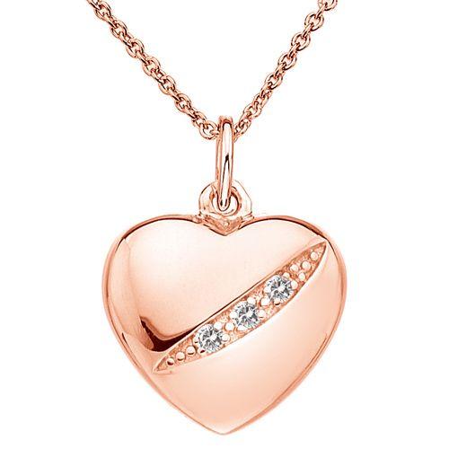 Stříbrný přívěsek Hot Diamonds Shooting Stars Heart Rose Gold