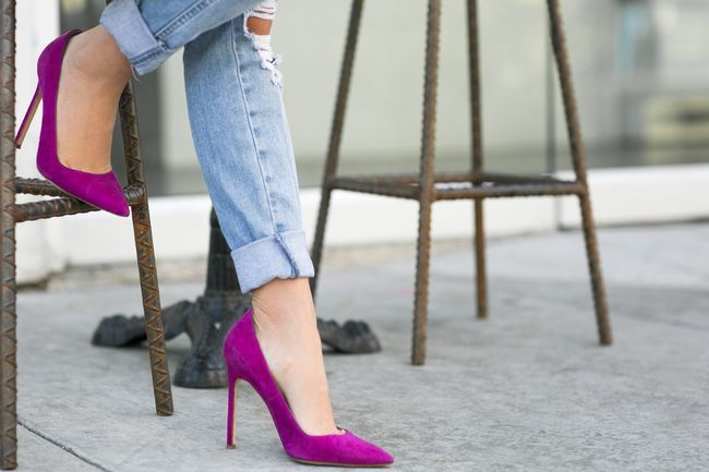 Pretty in purple pumps.
