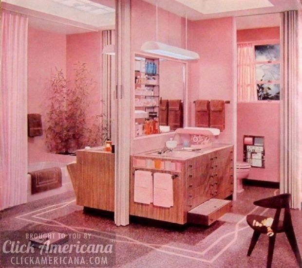 Great 16 Retro Pink Bathroom Styles Of The 1950s Part 27