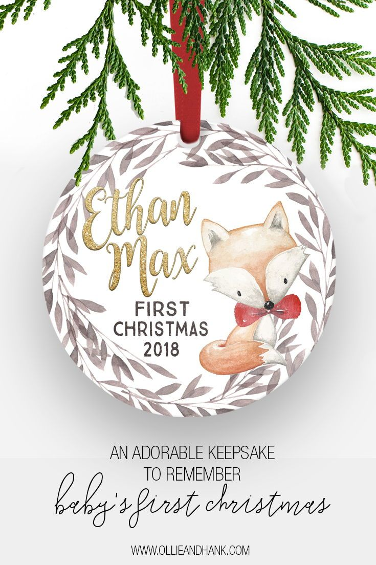 Baby S First Christmas Ornament Personalized Woodland Fox Baby Ornament Baby First Christmas Ornament First Christmas Ornament Practical Christmas Gift
