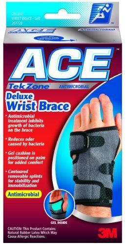 """Ace Tekzone Deluxe Wrist Brace - Small/Medium (5.5-7"""") - Left Hand by DeluxeComfort. $12.99. Gel cushion positioned inside palm to conform to shape Providing added comfort and support. Neoprene blend material retains body heat that helps increase circulation. Contoured removable splints for stability and immobilization. Lined with cotton terry for moisture absorption and comfort. USE: This TekZone Deluxe Wrist Brace is perfect for stabilizing the wrist. The brace i..."""