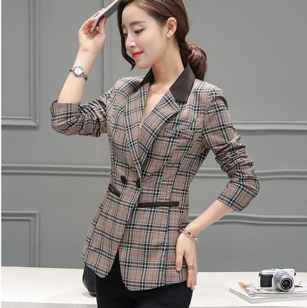 Elegant Slim Fit Plaid Checkered Blazer *Plus Size Available* #casual #checkered #blazer #cardigan #plussize