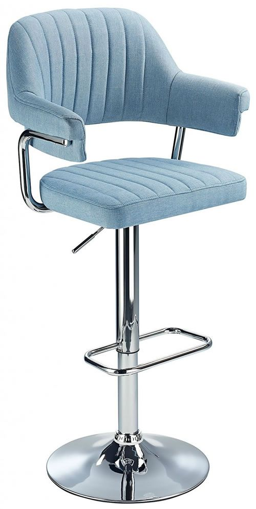 Vibe Retro Style Adjustable Bar Stool With Padded Fabric