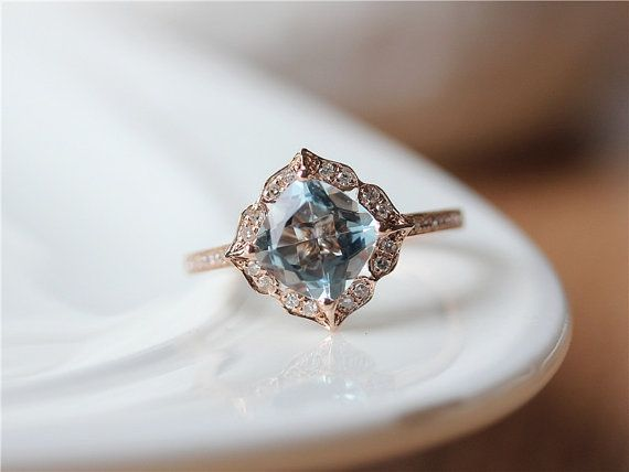 Vintage Floral Aquamarine Ring March Birthstone 14K Rose Gold 7mm Cushion Cut Aquamarine Engagement Ring/Unique Wedding Ring/Stackable Ring