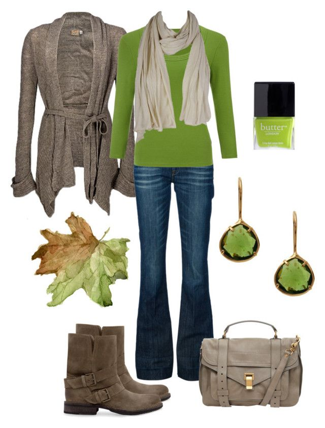 """""""Comfy Green Fall Outfit"""" by natihasi ❤ liked on Polyvore featuring Daytrip, 7 For All Mankind, John Lewis, Coralia Leets, MANGO, Proenza Schouler, American Vintage and Butter London"""