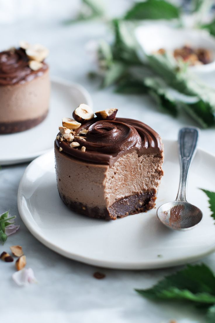 Raw Vegan Chocolate Hazelnut Ice Cream Cakes