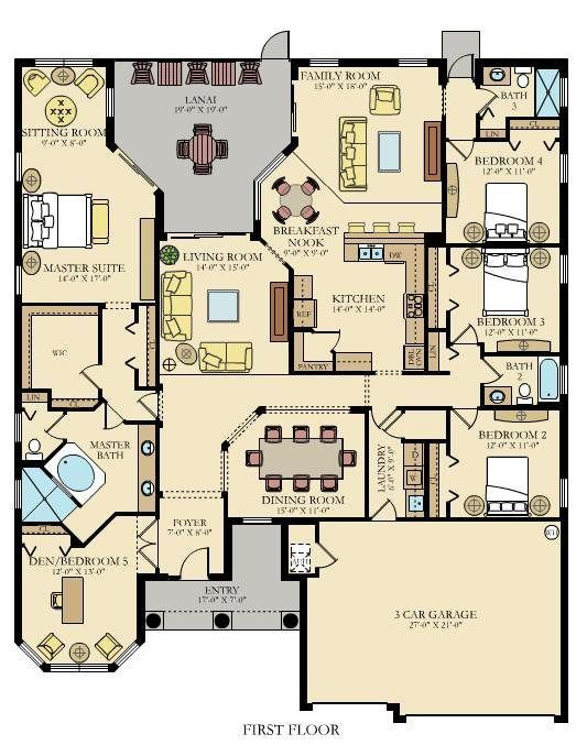House Plan - interesting layout, but would open and move dining room by kitchen and get rid of second living space.