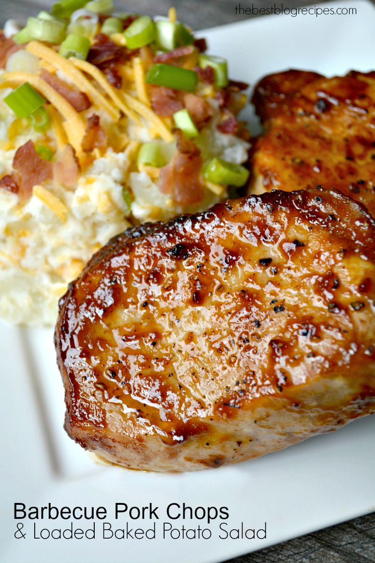 Need a delicious dinner for $20 or less? Try this Budget friendly Barbecue Pork Chops & Loaded Baked Potato Salad dinner idea from The Best Blog Recipes!