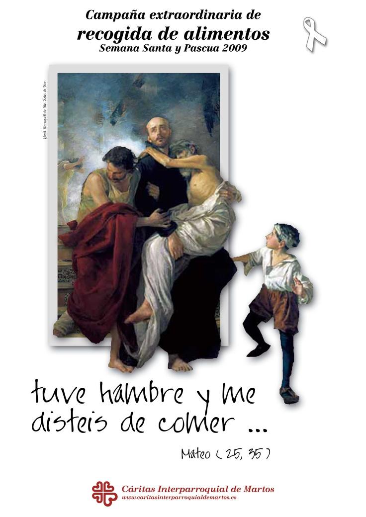 cartel para la campaña de recogidas de alimentos en cáritas interparroquial de Martos.