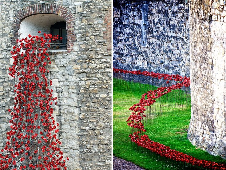 Tower of London, 08.05.14: 888,246 ceramic poppies to remember the fallen British and Colonial soldiers Of WWI (artist Paul Cummins, designer Tom Piper)