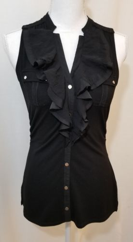 ffdf94f87d6a4 White House Black Market Black Ruffle Button Down Sleeveless Top Blouse  Size XS
