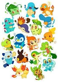 All Starters from 1 to 6 Gens