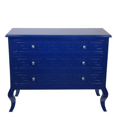Indigo Blue Three-Drawer Greek Key Console #zulilyfinds